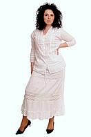 Юбка белая с кружевом, хлопок, 46-52 размеры