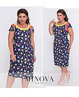Контрастное платье-футляр в яркий принт с короткими рукавами (размеры 52-58), фото 1