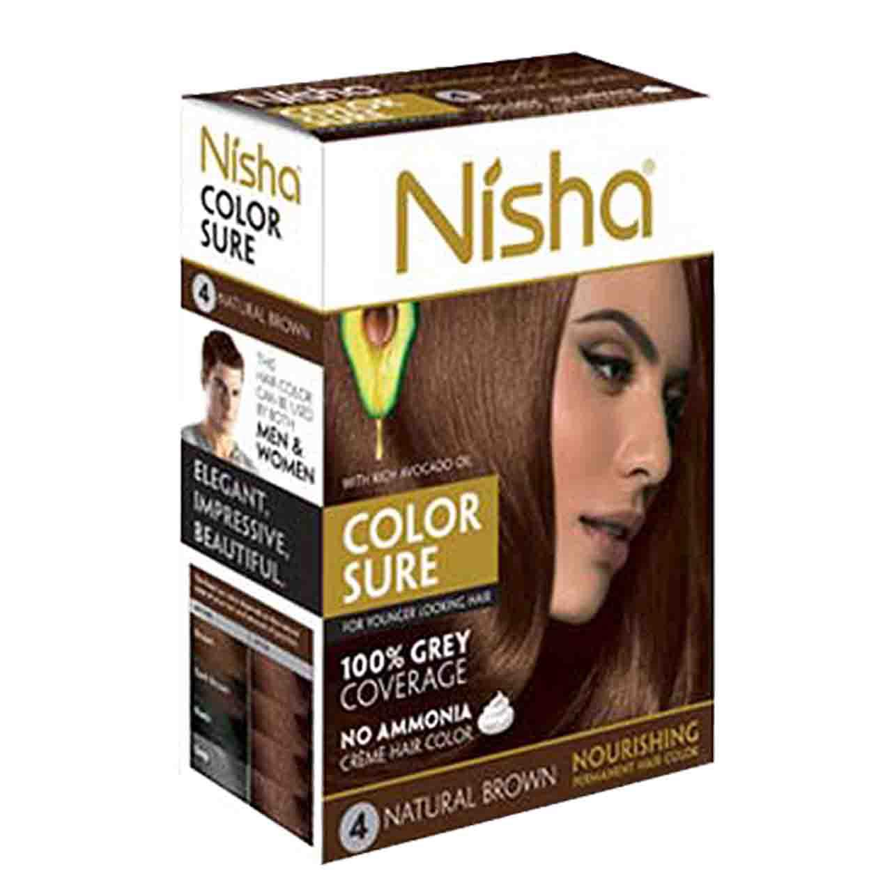 Nisha №4. Безаммиачная краска для волос коричневая, 40 мл