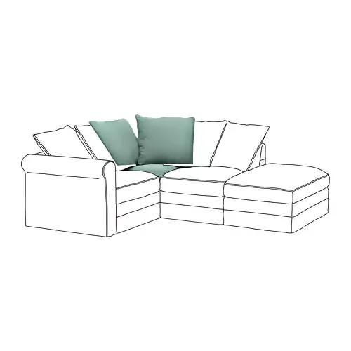 Угловая секция модульного дивана IKEA GRÖNLID Ljungen светло-зеленый 392.562.74