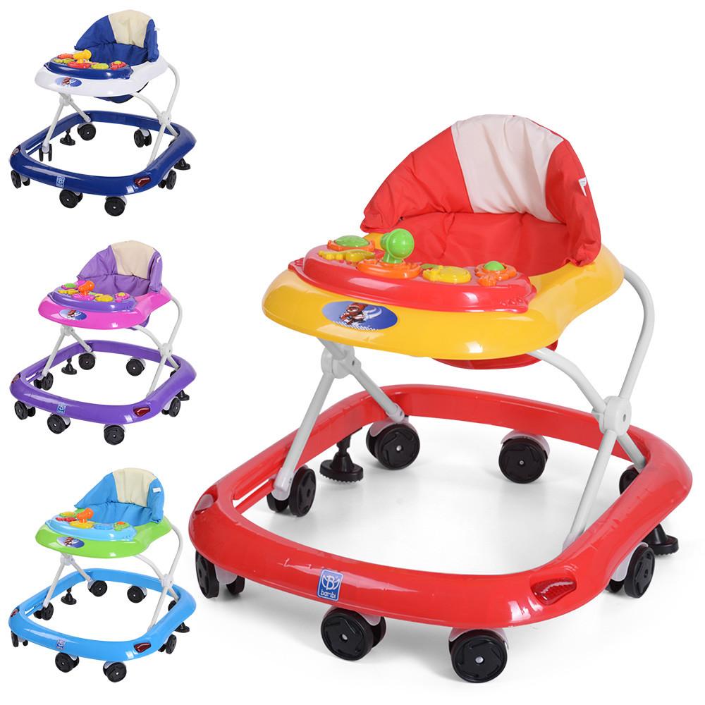 Детские ходунки музыкальные с трещоткой и игровой панелью BAMBI M 3610