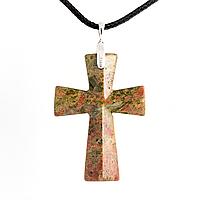 Унакит яшма, серебро, крестик, 792КЛУ