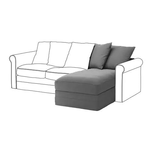 Секция кушетки для модульного дивана IKEA GRÖNLID Ljungen серый 892.560.35
