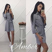Летнее модное платье-рубашка под поясок, размер с м, фото 3