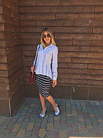 Женская стильная рубашка белая\голубая #345 , фото 1