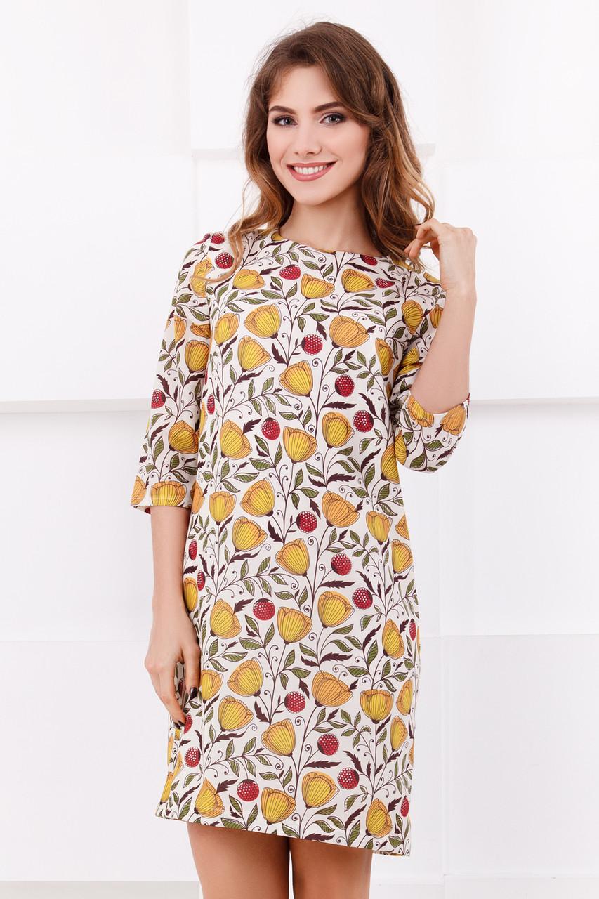 7bf26e3de34 Короткое платье летнее бежевое Цветы