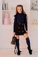 Дитяча стильна спідниця #420 чорна\т. синя (р. 134-152), фото 1
