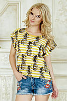 Женская футболка с принтом Ананасы на полосках