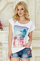 Белая футболка с принтом женская Бронкс
