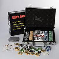 Настольная игра M 2779 (6шт) покер,200фиш(11,5г-с номин),2кол.карт,кубик,в чемодане(алюм),30-20-8см