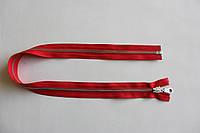Молния металлическая YКК № 5, длинна - 60 см., тесьма - красная, цвет зубьев - никель, артикул СК 5251