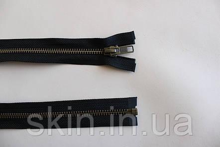 Молния металлическая YКК , размер № 5, длинна - 60 см., тесьма - черная, цвет зубьев - антик, артикул СК 5262, фото 2