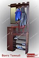 Вешалка с зеркалом+обувнца. Цвет Венге Темный