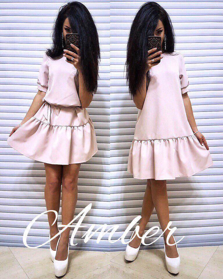 Платье универсальное с рюшами под пояс или разлетайкой, размер единый 42-46
