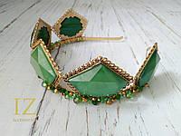 Вінтажна зелена корона на голову з криталами ручна робота, фото 1
