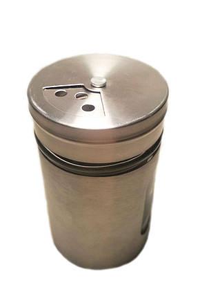 Банка солонка / перечница стекло-нержавеющая сталь 100мл, фото 2