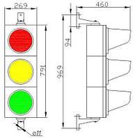 Светофор СД Т1.1-С Светофор дорожный светодиодный, транспортный 3-х секционный, D = 200мм