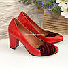 Туфли женские на каблуке, цвет красный/бордо, фото 4