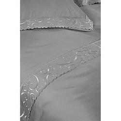 Постельное белье Begonville - Lindau серый сатин евро