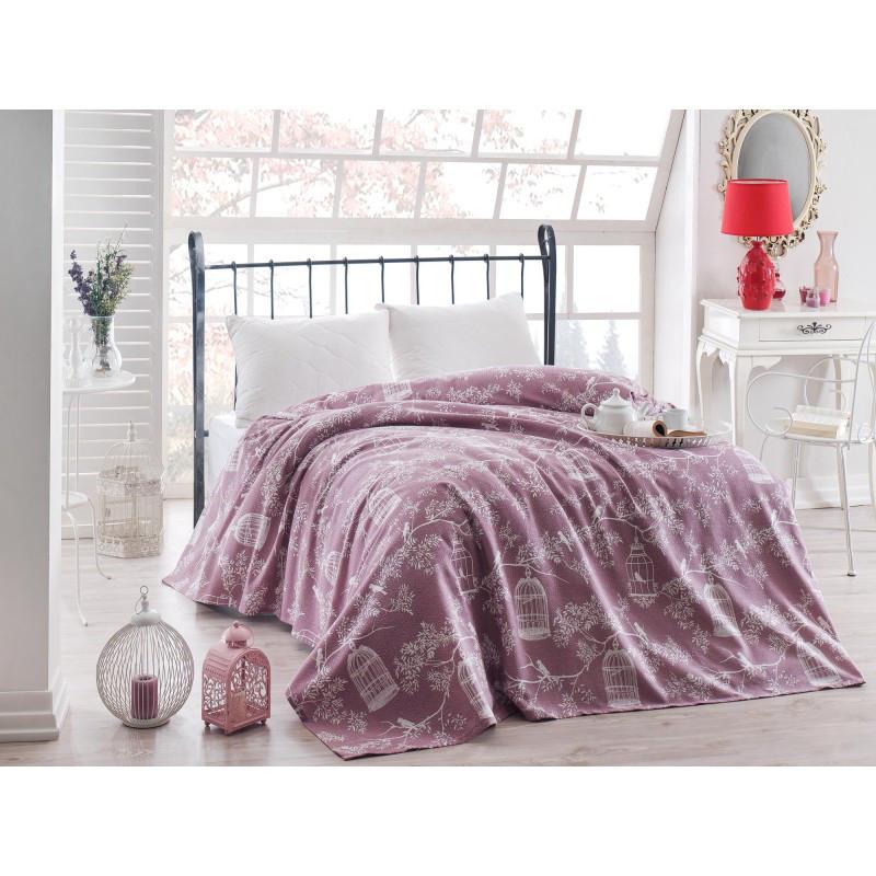 Покрывало пике Eponj Home - Samyeli lila лиловый вафельное 160*235