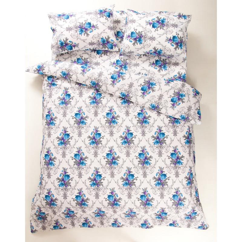 Постельное белье Lotus Ranforce - Loise V1 синий евро