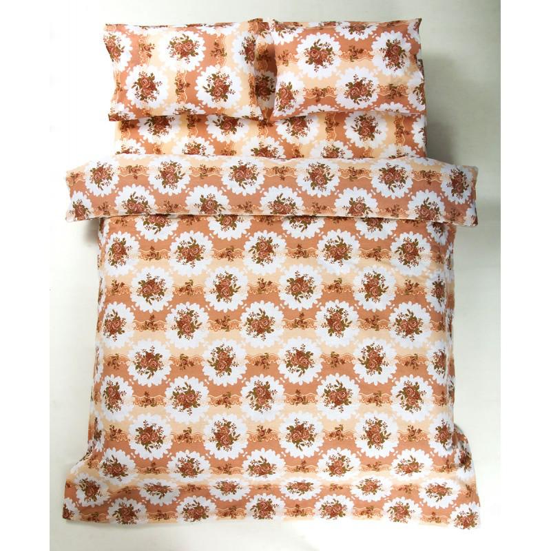 Постельное белье Lotus Ranforce - Bouquet коралловый двуспальное