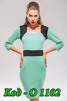 Платье женское трикотажное с рукавом мятное, фото 1