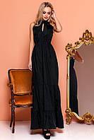 Шикарный Коттоновый Сарафан в Пол с Бантом и Воланами Черный S-XL, фото 1