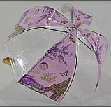 Зонт парасолька дитячий прозорий купольний Париж для дівчинки 4-8 років, фото 5