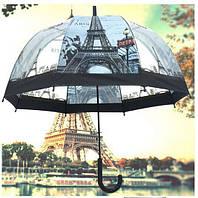 Прозрачный молодежный зонт трость с эйфелевой башней от Mario