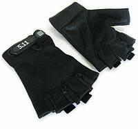 Перчатки без пальцев с логотипом 5.11 Черные, фото 1