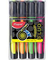 Маркери текстові Maped FLUO PEPS Max з гумовими вставками, асорті, 4шт 1-5мм (MP.742947)