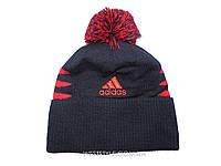 Шапка Adidas темно-синяя с красным логотипом и помпоном (реплика)