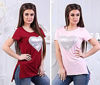 Распродажа Женская асимметричная футболка с паетками