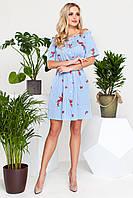 Нежное Короткое Платье с Открытыми Плечами Голубое с Вышивкой S-XL, фото 1