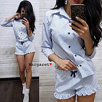 Пижамка рубашка с шортами в клеточку, размеры 42-44, 44-46 , фото 2