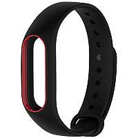 Ремешок браслет Mijobs для Xiaomi Mi Band 2 черный с красной рамкой