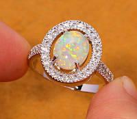 Рассрочка 0%!! Красивое кольцо с огненным опалом в серебре. Кольцо - опал.