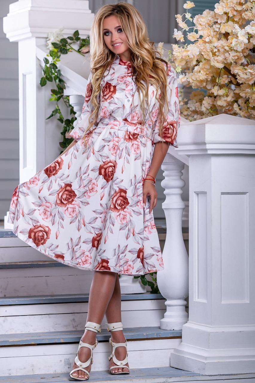 e1591104d34 Летнее женское платье с цветочным принтом (шифон