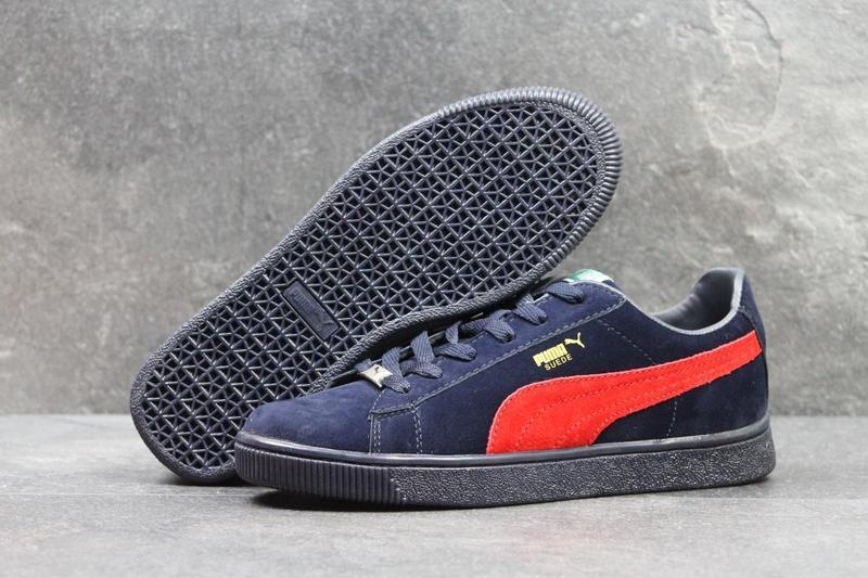 135cd609caf2 Мужские кроссовки в стиле Puma Suede, темно-синие с красным   кроссовки  мужские Пума