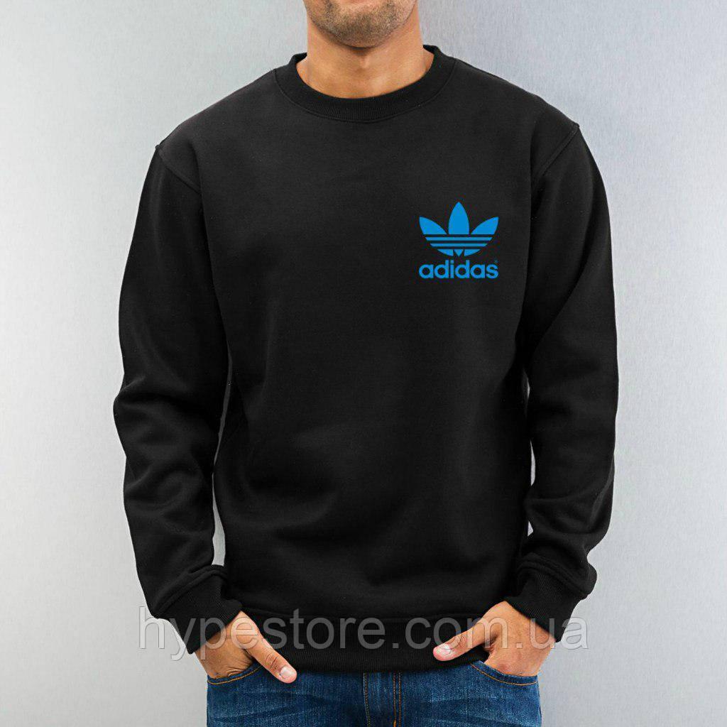 Спортивный свитшот, кофта, реглан , Adidas (черный+синий лого)  Реплика