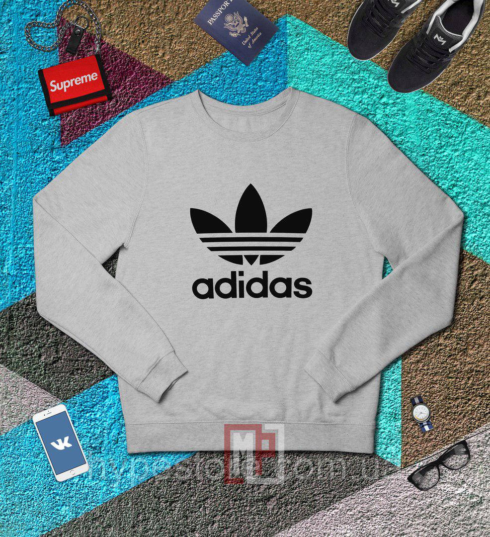 Спортивный свитшот, кофта, реглан , Adidas (СЕРЫЙ)  Реплика
