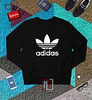 Спортивный свитшот, кофта, реглан , Adidas (ЧЕРНЫЙ+БЕЛЫЙ ЛОГО)  Реплика