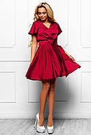 Шикарное Атласное Платье с Юбкой Солнце Винное S-XL, фото 1