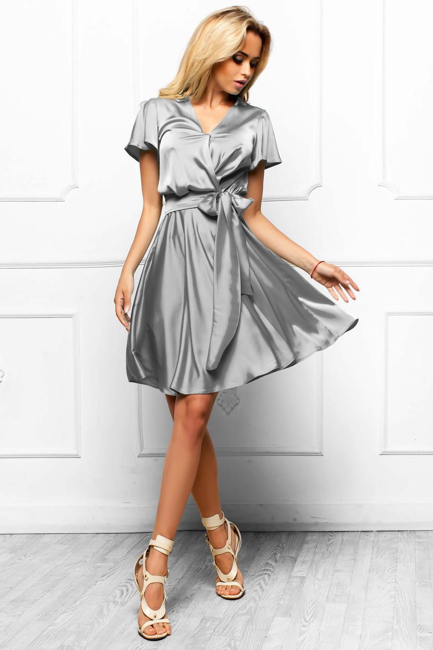 b7122206558 Шикарное Атласное Платье с Юбкой Солнце Стальное S-XL - купить по ...