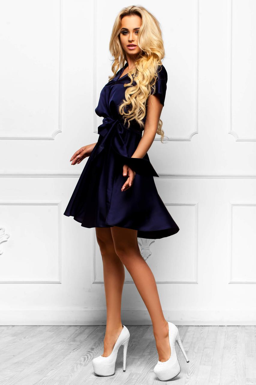 78a13ae3e7c Шикарное Атласное Платье с Юбкой Солнце Темно-Синее S-XL - Ukraine In Trend