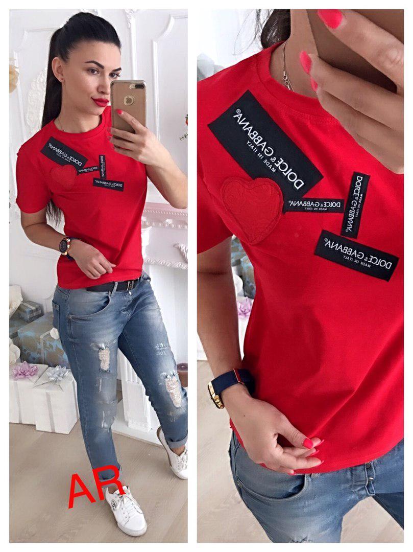 Стильная футболка D&G, размер универсальный 42-44