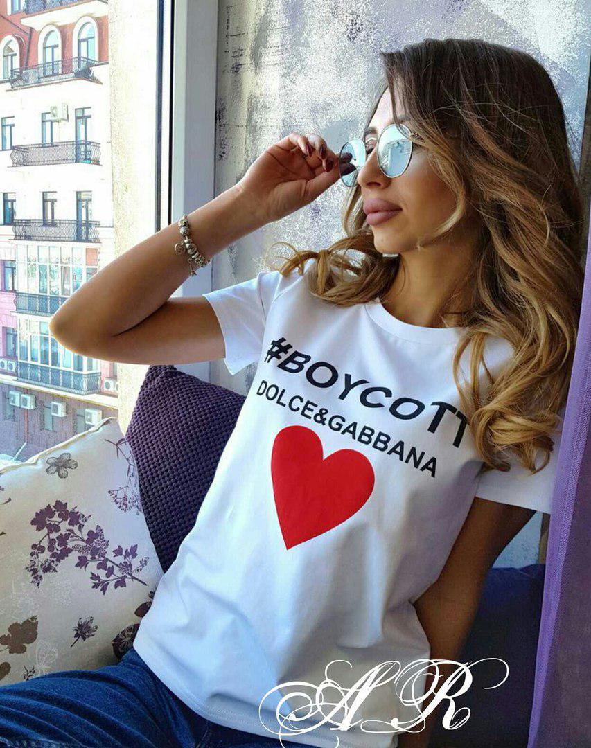 Модная женская футболка, размер универсальный 42-46