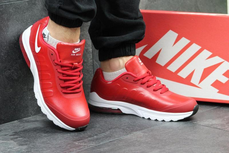 b3c36d22 Мужские кроссовки в стиле Nike AirMax, красного цвета / кроссовки Найк  АирМакс, кожаные,
