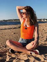 Летняя женская хлопковая майка оранжевого цвета